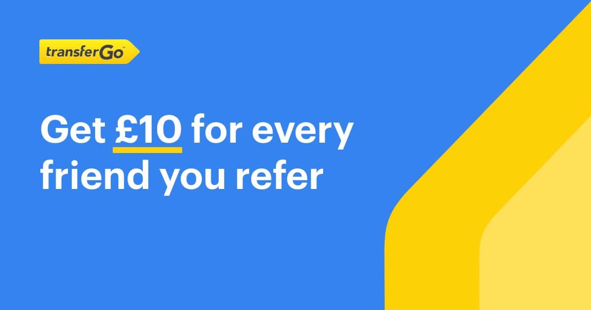 Earn money online by referring friends on TransferGo'